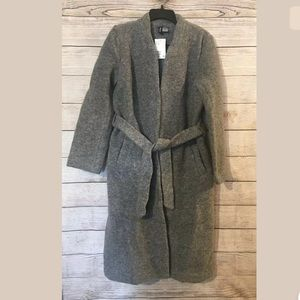 H&M Gray Belted Wool Blend Wrap Coat